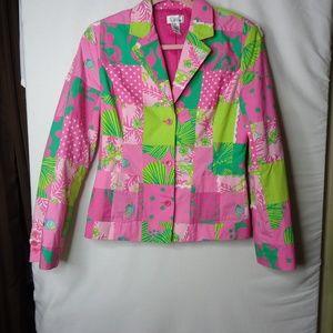 Lilly Pulitzer Pink/Green Patchwork Blazer Jacket